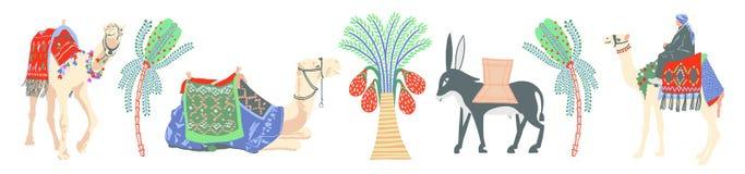 Una colección de iconos modernos decorativos en el estilo egipcio antiguo libre illustration