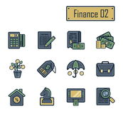 Una colección de iconos planos modernos elegantes con los esquemas oscuros gruesos para las finanzas, las actividades bancarias y Imagen de archivo libre de regalías