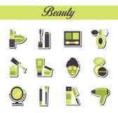 Una colección de iconos planos modernos elegantes de la etiqueta engomada con el colorante del modelo para beuty, los cosméticos  Stock de ilustración