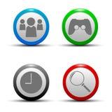 Una colección de iconos que representan cuatro - búsqueda, comunidad, y mira el juego Fotografía de archivo libre de regalías