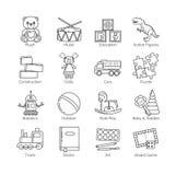 Una colección de línea fina minimalistic iconos para las clases de los diversos juguetes y categorías y actividades para los niño Stock de ilustración