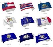 Una colección de las banderas que cubren la correspondencia forma de algunos Estados Unidos Fotografía de archivo libre de regalías