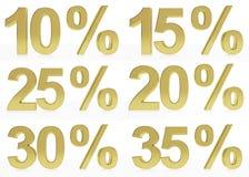 Una colección de los símbolos de oro for10, 15, 20, 25, 30, el 35% Imagen de archivo libre de regalías