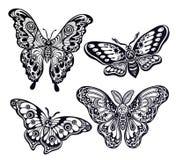 Una colección de mariposas o de polillas Un sistema de insectos adornados del estilo de la fantasía Fotografía de archivo libre de regalías