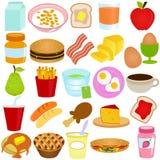 Una colección del vector de conjunto del desayuno/del almuerzo Foto de archivo libre de regalías