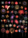 Una colección grande de 48 fuegos artificiales Imagen de archivo libre de regalías