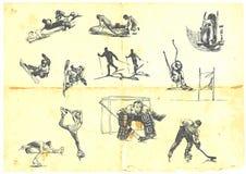 Una colección grande de deportes de invierno Imagen de archivo libre de regalías