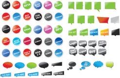 Una colección grande de etiquetas engomadas y de discurso burbujea w Fotos de archivo libres de regalías