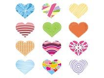 Una colección linda de corazón colorido para la tarjeta del día de San Valentín stock de ilustración