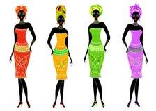Una colecci?n de se?oras afroamericanas hermosas Las muchachas tienen ropa brillante, un turbante en sus cabezas Las mujeres son  stock de ilustración