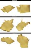 Una colección de formas de oro de los estados americanos Washington, Virginia Occidental, Wisconsin de los E.E.U.U. Imagen de archivo