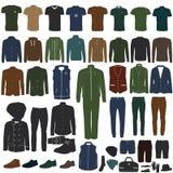 Una collezione di abbigliamento alla moda del ` s degli uomini Fotografie Stock Libere da Diritti