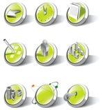 Una collezione di icone di applicazione e di Web illustrazione di stock