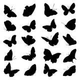 Una collezione di immagini delle siluette della farfalla Immagini Stock Libere da Diritti