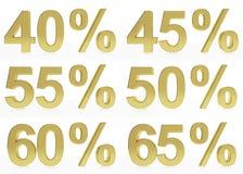 Una collezione di simboli dorati per 40, 45, 50, 55,60,65 Fotografie Stock