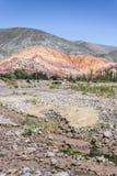Una collina di sette colori in Jujuy, Argentina Fotografia Stock Libera da Diritti