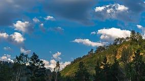 Una collina legnosa e rocciosa si è accesa dai raggi di sole luminosi di mattina Fotografia Stock Libera da Diritti
