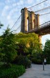 Una colonna del ponte di Brooklyn immagine stock libera da diritti