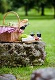 Una comida campestre presentada en un parque verde de la primavera Fotografía de archivo