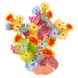Una composición colorida de corales y de pólipos marinos Aíslan a los habitantes brillantes del mar profundo en un fondo blanco Fotografía de archivo libre de regalías