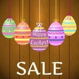 Una composición de decorativo, multicolora, huevos de Pascua en cintas en el fondo de una textura del árbol Venta a Pascua libre illustration