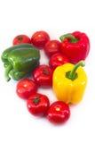 Una composizione delle paprica e dei pomodori freschi Immagine Stock Libera da Diritti