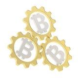 Una composizione in tre del bitcoin ingranaggi della ruota dentata Immagine Stock