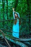 Una condizione della donna nella foresta e raggiungere su immagine stock libera da diritti