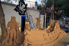 Una configurazione della nave di pirata in sabbia Fotografia Stock Libera da Diritti