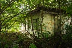 Una construcción de viviendas blanca abandonada en el medio de un jardín con los árboles y los arbustos Depok admitido foto Indon Fotografía de archivo