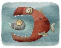 Pescados grandes que comen un pequeño pescado ilustración del vector