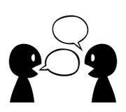 Una conversazione astratta di due siluette illustrazione vettoriale