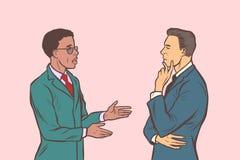 Una conversazione dei due uomini d'affari Multi gruppo etnico illustrazione di stock