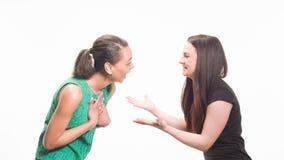 Una conversazione di divertimento di due amiche stock footage