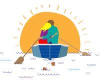 Una coppia amorosa sta abbracciando in una barca Illustrazione di vettore illustrazione vettoriale