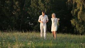 Una coppia amorosa sta camminando lungo il prato inglese stock footage