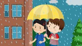 Una coppia che cammina nella pioggia royalty illustrazione gratis