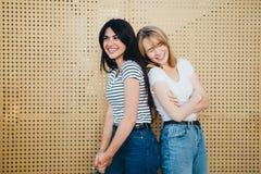 Una coppia di belle amiche contro un fondo giallo della parete Immagine Stock Libera da Diritti