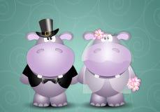 Una coppia di coniugi degli ippopotami Fotografia Stock