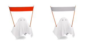 Una coppia di fantasma sveglio con un'insegna differente Fotografie Stock Libere da Diritti