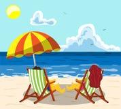 Una coppia di giovani stanno rilassando su una sedia di spiaggia su una spiaggia soleggiata sotto un ombrello ed i cocktail beven illustrazione vettoriale