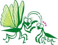 Una coppia di mantises pregare che si innamorano pericolosamente illustrazione vettoriale