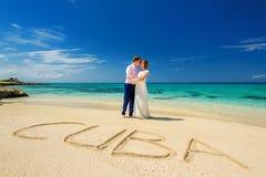 Una coppia di nozze su una riva dell'oceano Fotografia Stock Libera da Diritti