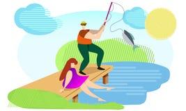 Una coppia di pesce sul fiume illustrazione di stock