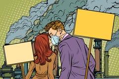 Una coppia di uomo e donna che protestano contro il facto di inquinamento atmosferico illustrazione di stock