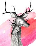 Una coppia i cervi su un fondo dell'acquerello Fotografie Stock Libere da Diritti