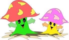 Una coppia i funghi amichevoli Fotografia Stock