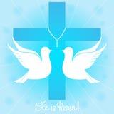 Una coppia i piccioni bianchi sale nel cielo contro lo sfondo di un incrocio È aumentato Cartolina d'auguri di Pasqua Fotografia Stock