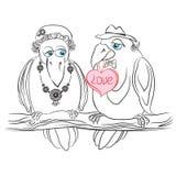 Una coppia il corvo degli amanti Illustrazione Vettoriale