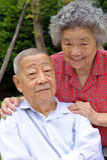 Una coppia maggiore felice abbracciata Immagine Stock Libera da Diritti
